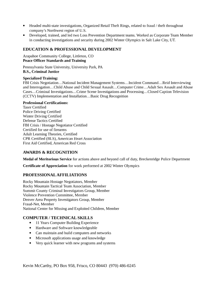 Professional Loss Prevention Investigator Resume Example Page2