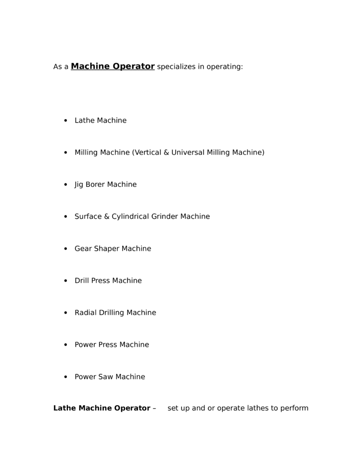 Professional Machine Operator Resume Example Template – Machine Operator Resume
