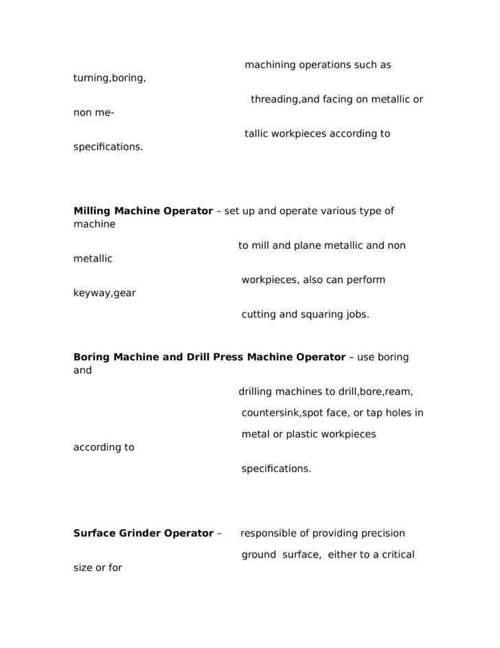 Cnc Machine Operator Resume samples