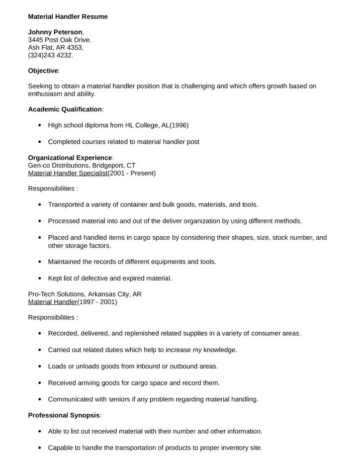 professional material handler resume template