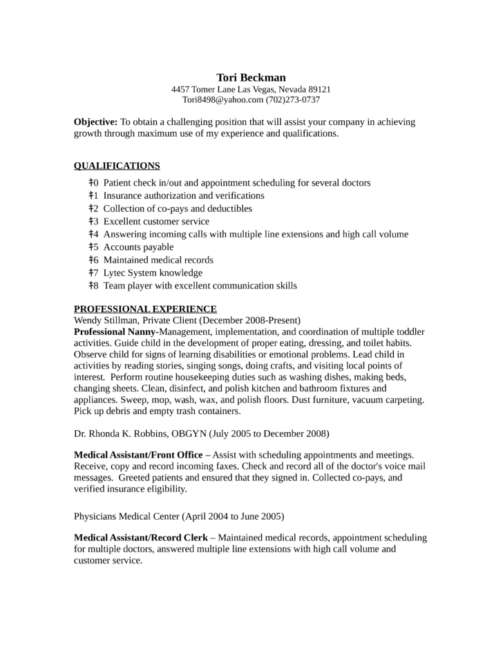 professional records clerk resume records