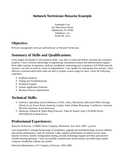 Professional Network Technician Resume