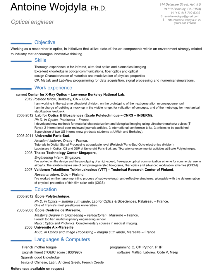 Professional Optical Engineer Resume Template