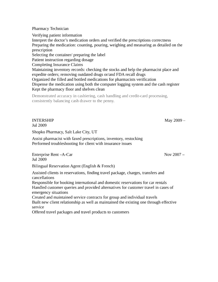 Professional Pharmacy Technician Resume Page2