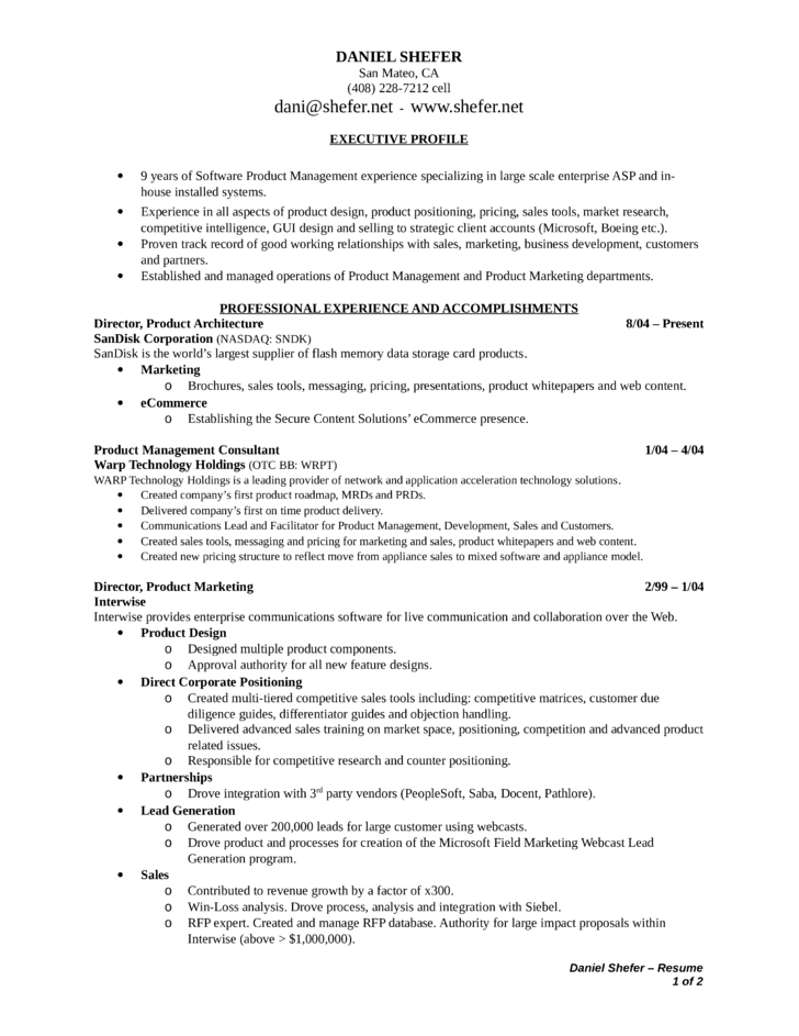 professional product marketing manager resume template