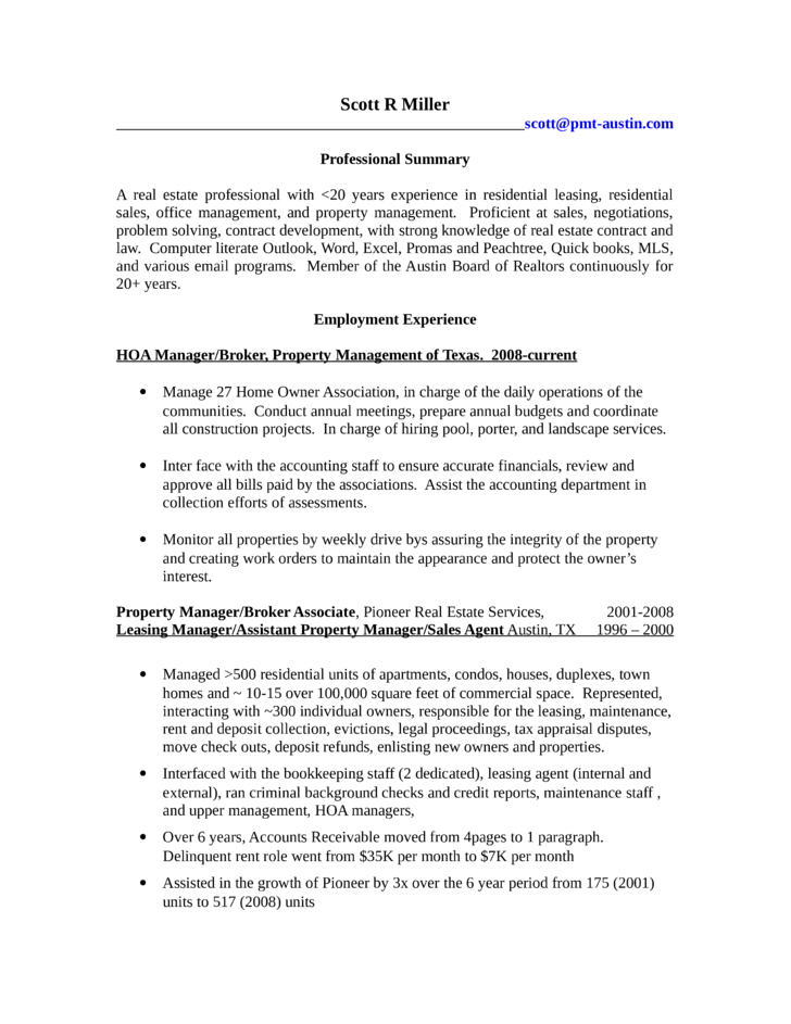 professional property manager resume - Leasing Manager Resume