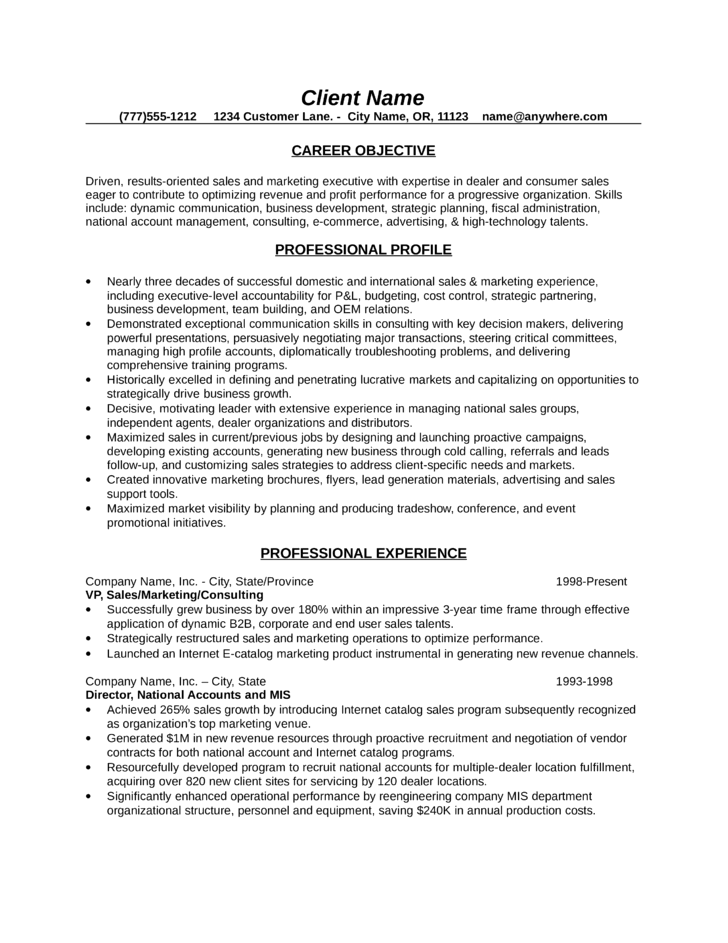 Resume for a sales consultant