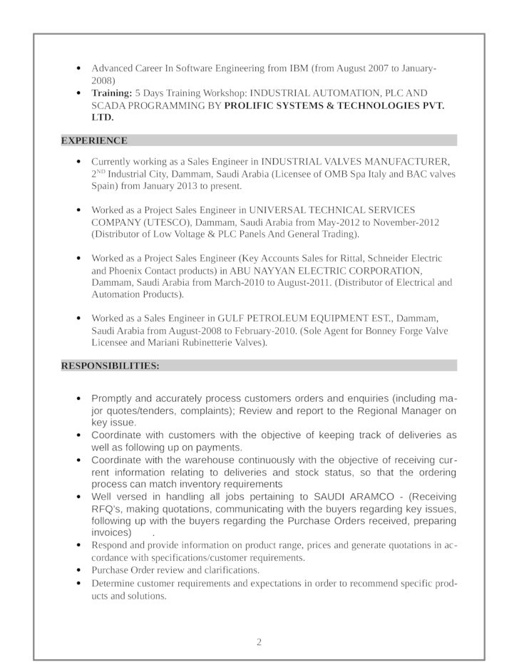 Professional Sales Engineer Resume Template Page 2