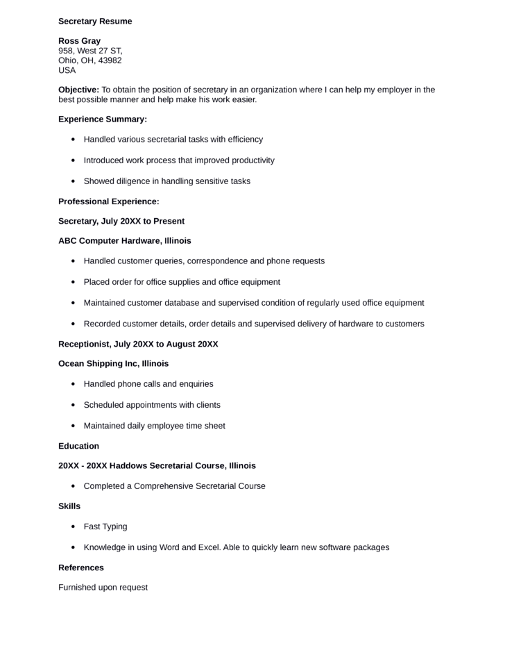 professional secretary resume template