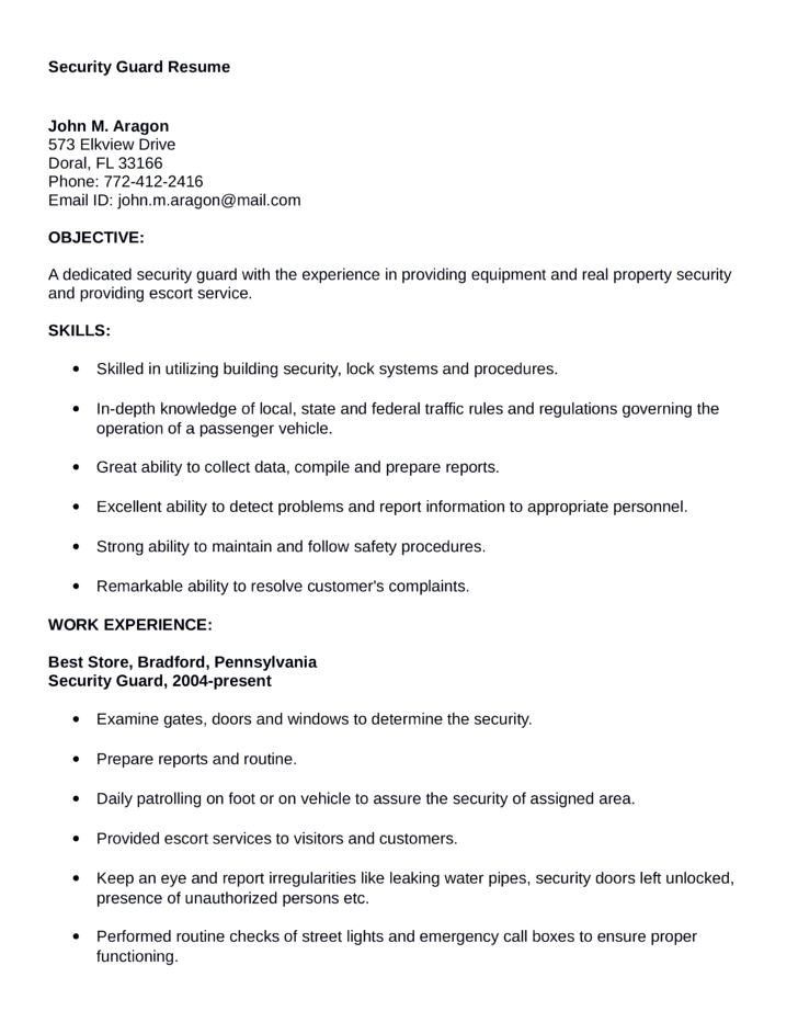 professional security guard resume template