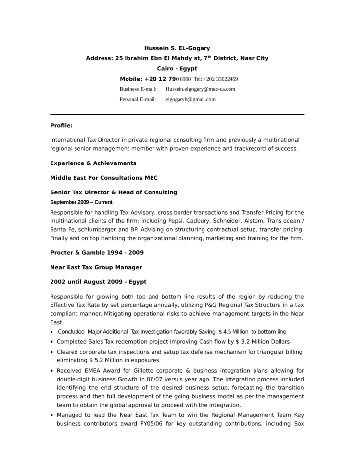 professional tax manager resume template
