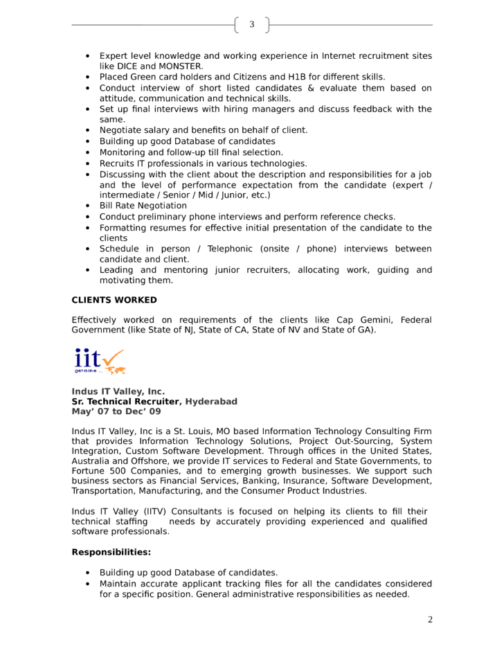 professional technical recruiter resume template page 2