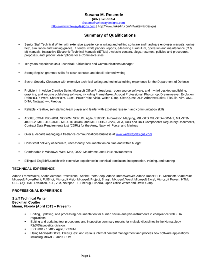 Sample resume of technical writer