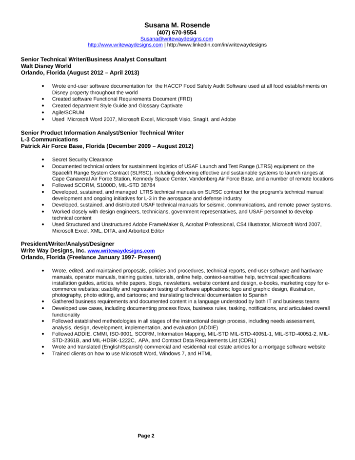 sample technical writer resumes - Technical Writer Resume