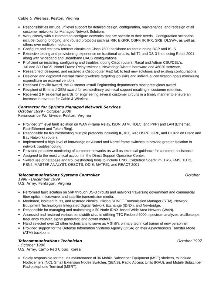 professional telecommunications technician resume template