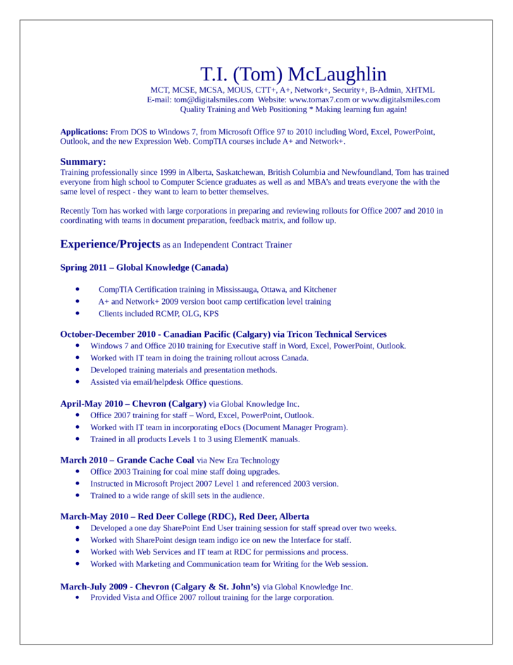 Professional Trainer Resume Template
