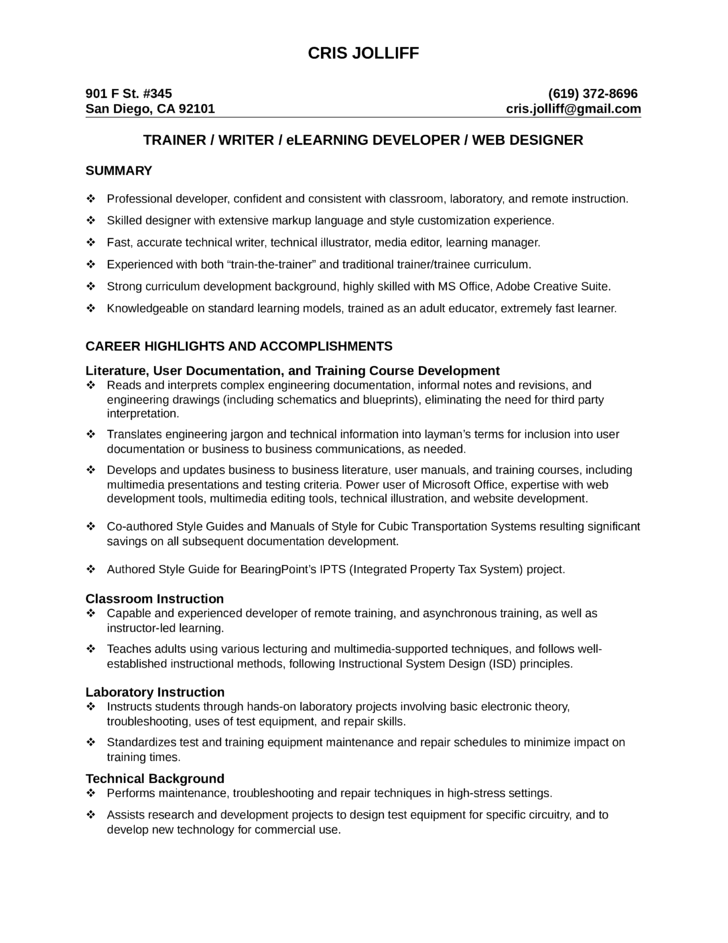 Professional Training Specialist Resume Template