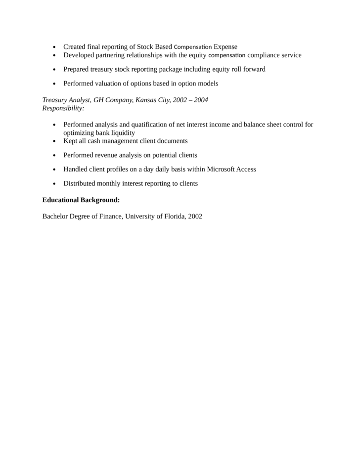 Treasury analyst cover letter sample