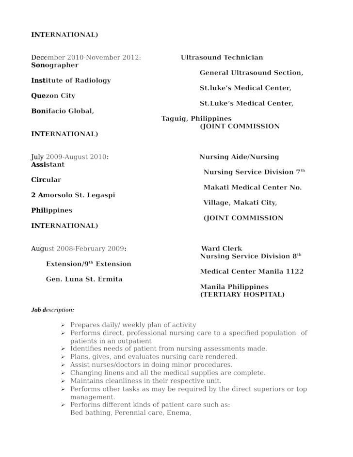 professional ultrasound technician resume template