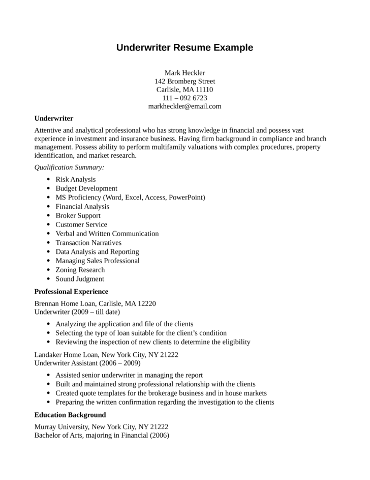underwriting resume exles 35 images exle cover letter