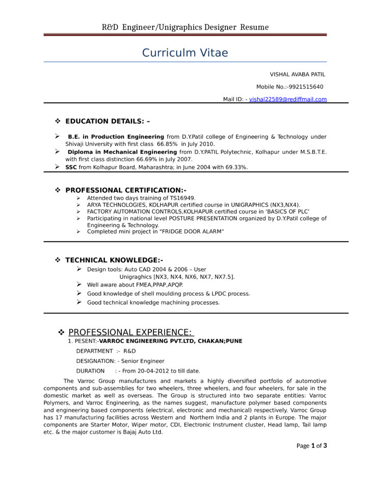 sample resume professional unigraphics designer resume template - Unigraphics Designer Resume