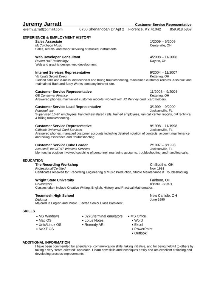 professional universal service representative resume