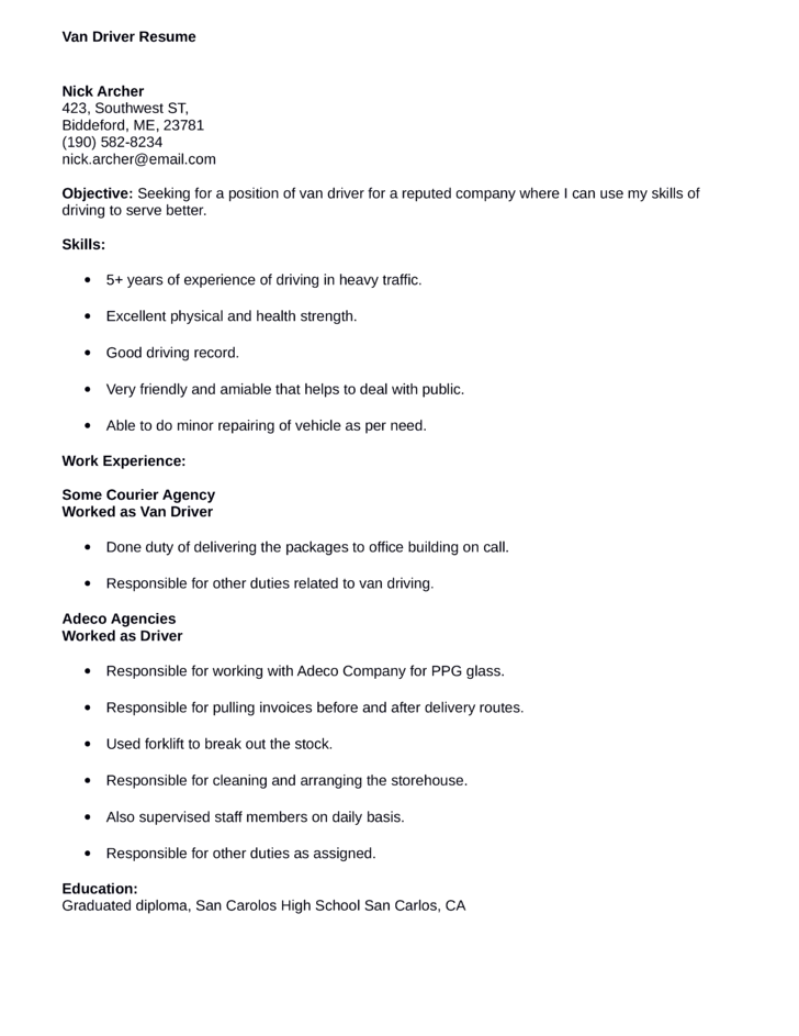 Personal Driver Resume. Secrets To Writing An Outstanding Nanny Resume  Resume And Resume Templates
