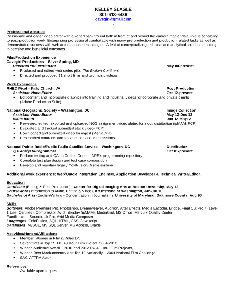 resume for editor resume format resume format for video editor