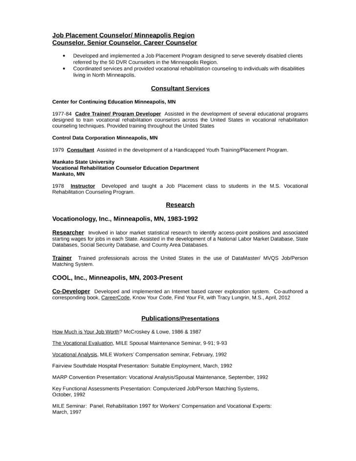 sample vocational rehabilitation counselor resume - Gidiye ...
