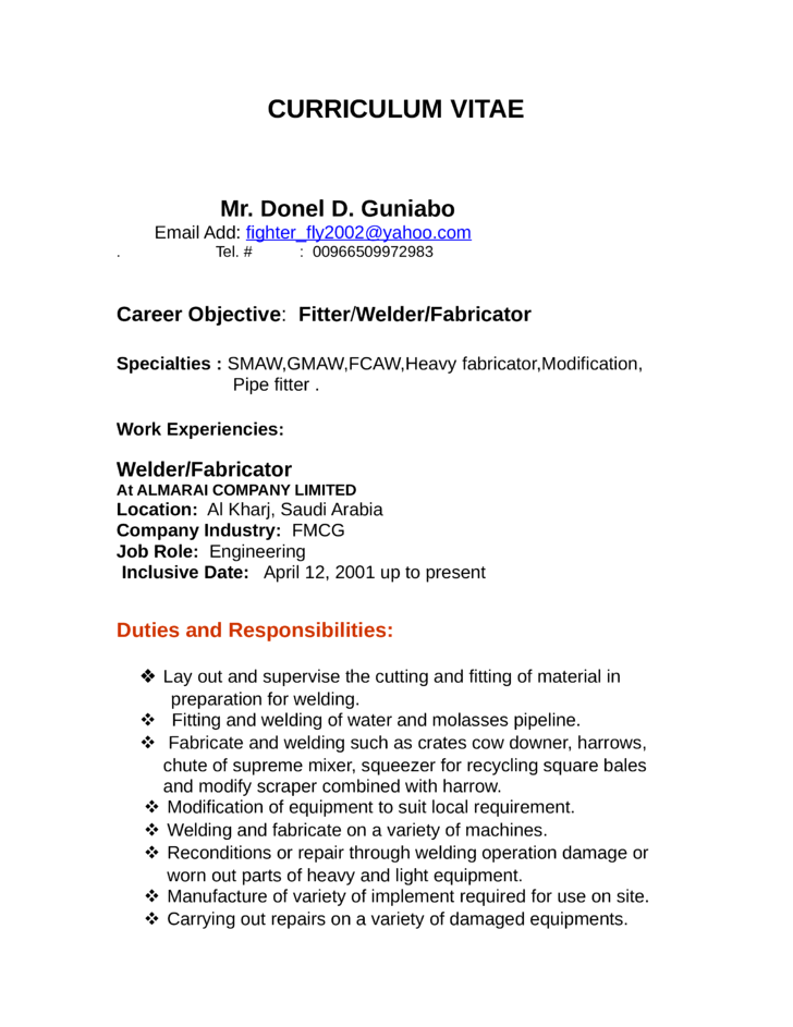 Welder Fabricator | Resume CV Cover Letter