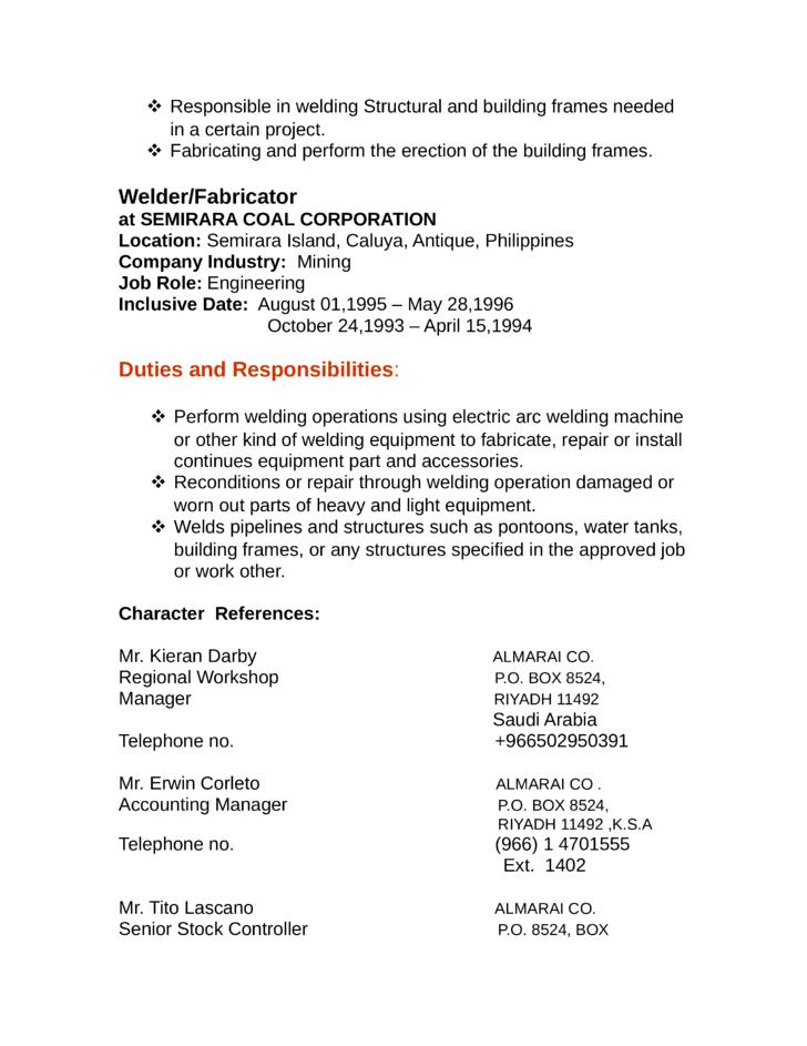 professional welder fabricator resume template