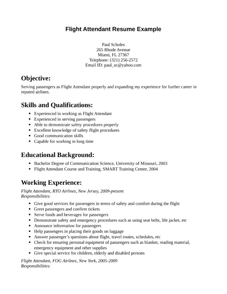 Simple Flight Attendant Resume Template