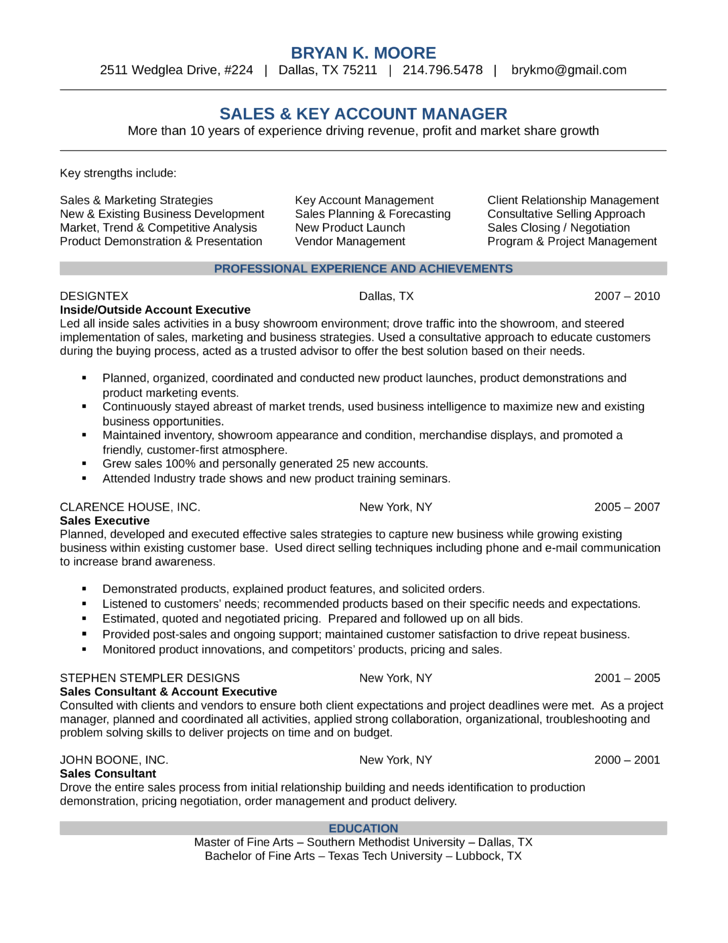 Resume account manager sample