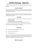 Simple Kids Activity Assistant Resume