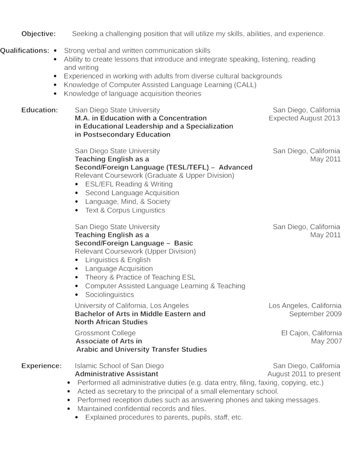 simple lot attendant resume template
