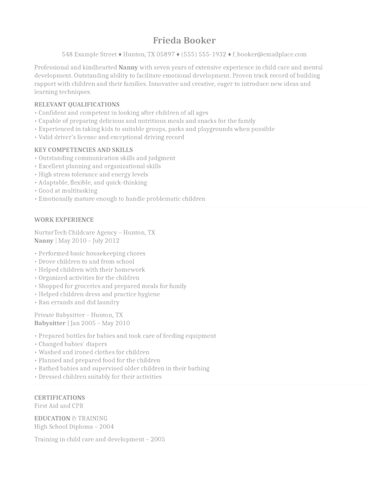 Nanny Resume Example nanny resume examples star method resume examples nanny example berathen star method resume examples cpa program Simple Nanny Resume Example