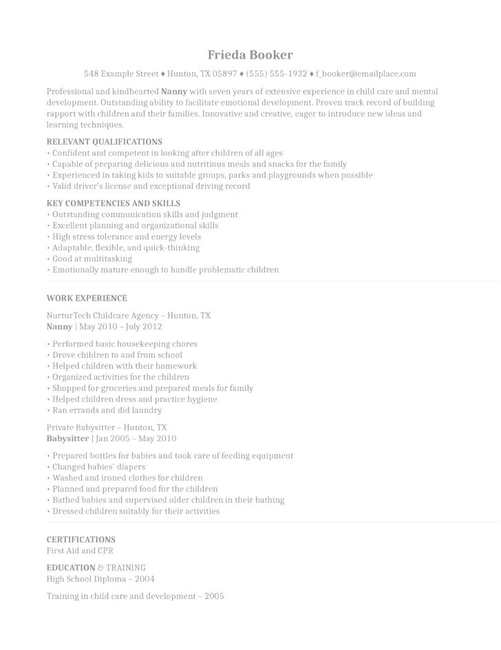 nanny resume cover letter resume editor objective entry level finance housekeeper cv sample resume example