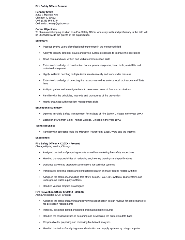 simple safety manager resume - Fire Manager Resume