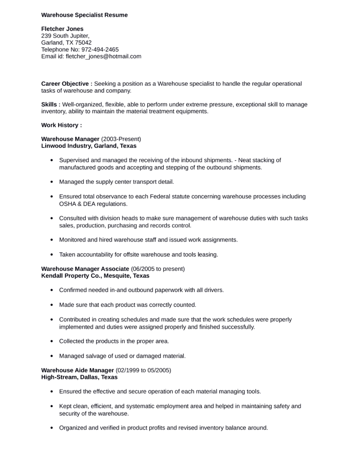 simple warehouse specialist resume