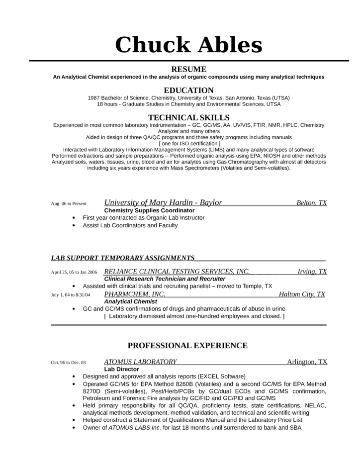 tabular analytical chemist resume template