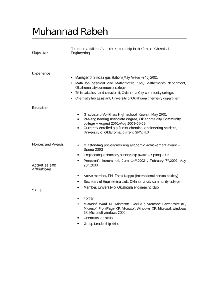 Tabular Lab Assistant Resume
