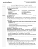 Tabular Marketing Specialist Resume