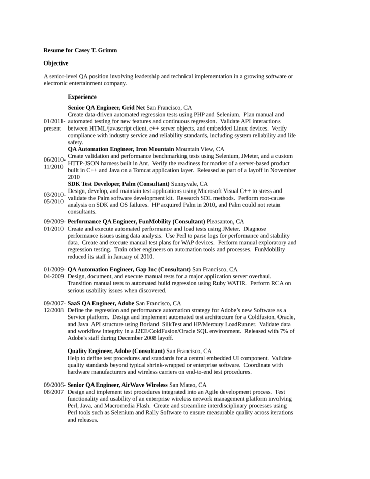 tabular qa engineer resume template
